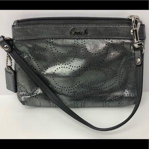 COACH Wristlet Silver Grey Medium Size Leather EUC